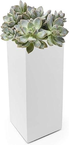 Buhbo Modern Square Vase Planter 3.5 x 3.5 x 8 inch, White