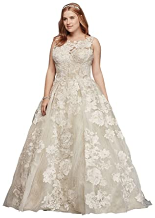 Davids Bridal Plus Size Oleg Cassini Tank Lace Wedding Dress Beads