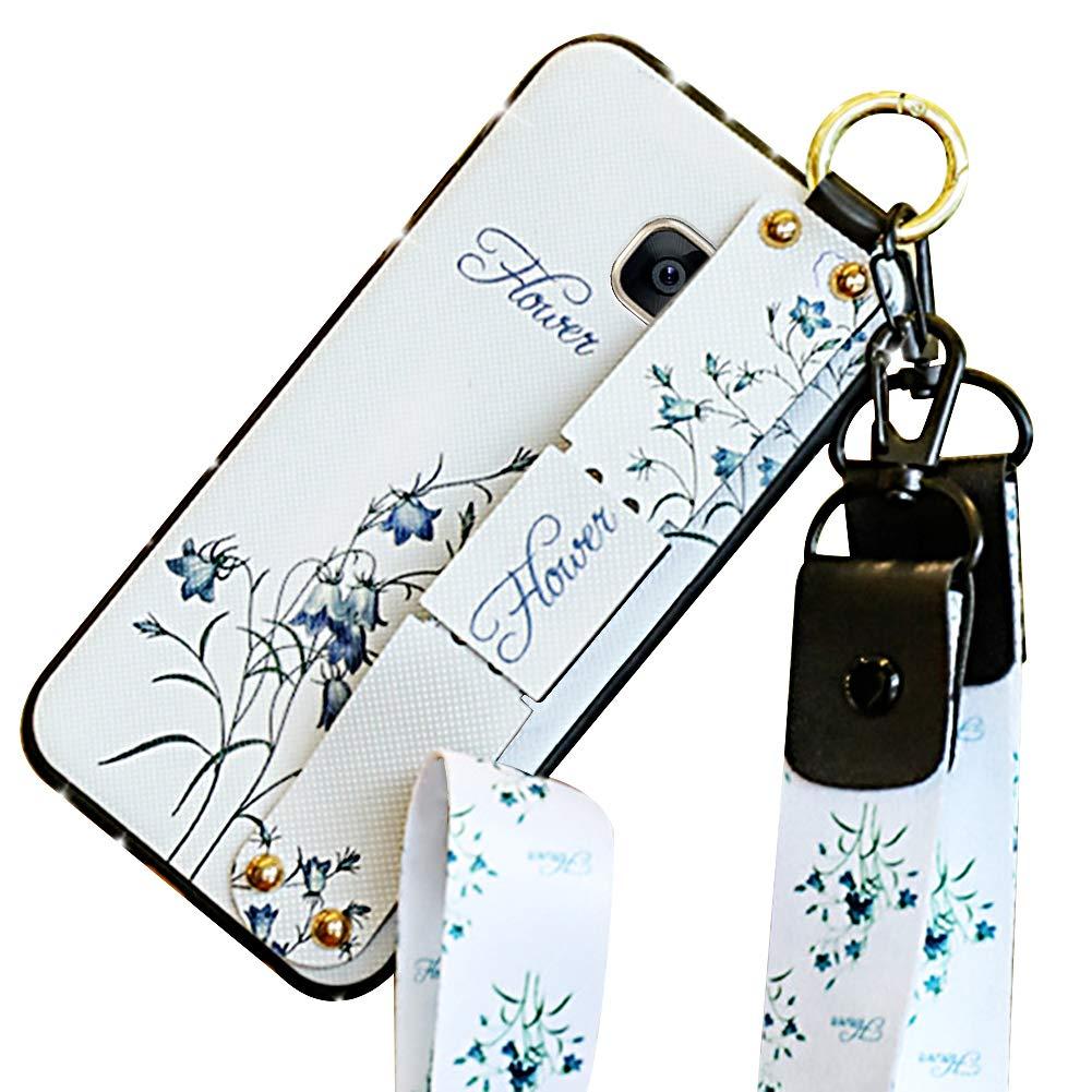 Ysimee Compatible avec Samsung Galaxy S7 Coque Fleur Motif Tissu Texture avec Glitter Diamant Etui Silicone avec Wristband et Support et Longe Housse de Protection Antichoc Bumper Cover,Fleur Violet