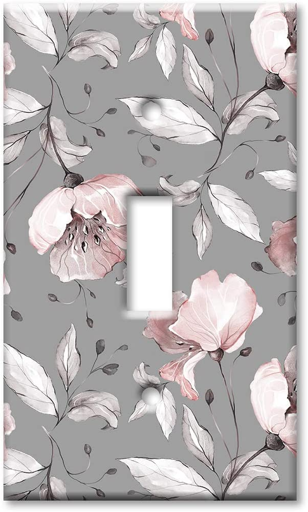 Art Plates 1 Gang Toggle Wall Plate - Gray and Pink Flower Toss