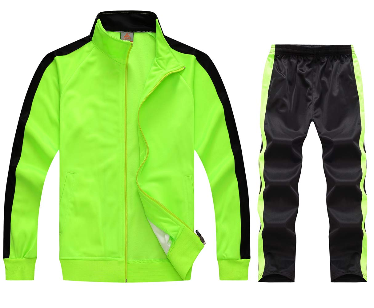 myglory77mall Running Jogging Tracksuit Jacket and Pants Warm Up Gym Wear 6801 Neon XXL US(4XL Asian) by myglory77mall