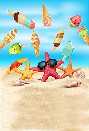 Amazon.com : AOFOTO 4x6ft Summer Sand Beach Backdrop Cartoon ...