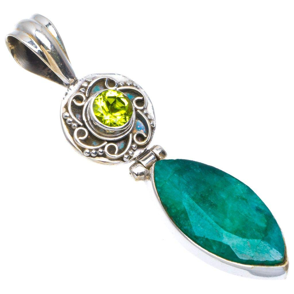 Natural Emerald and Peridot Handmade Unique 925 Sterling Silver Pendant 2 A4682