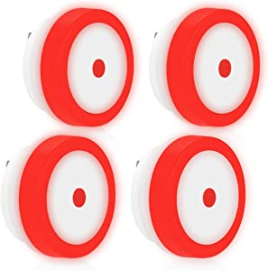 Red LED Night Light for Bedroom, DORESshop 0.6W Dusk to Dawn Plug in Night Lights for Kids, Soft Red Glow, Promote Sleep's Quality, Auto ON/OFF, Perfect for Kid's Room, Bathroom, and Stairs, 4Pack