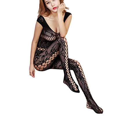 80ae1ad0f Amazon.com  Makaor Womens Sexy Lingerie Open Mesh BodyStockings Black  Bodysuit Jumpsuit  Home   Kitchen