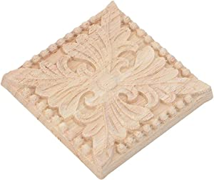 4Pcs Wood Carved Applique Carving Checkered Unpainted Decal for Cabinet Door Furniture Decoration (2#)