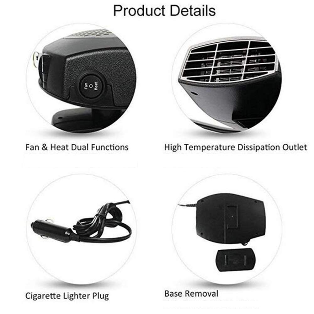 Car Heater JFW-12 V Auto Elektroheizung 150 Watt Tragbare Fahrzeug Heizung K/ühlung Auto Heizung Warm Fan Auto Defroster Demister Autozubeh/ör
