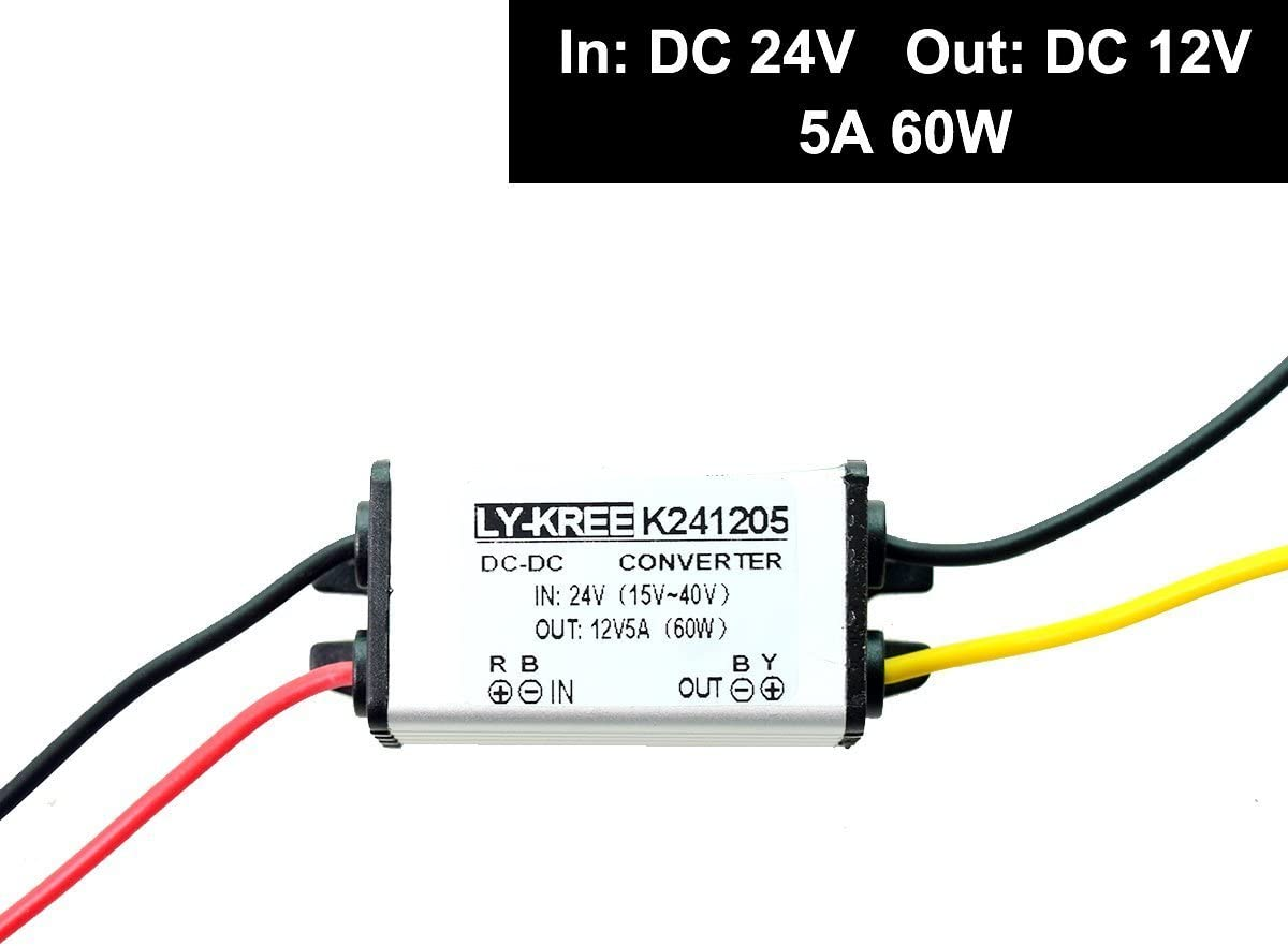 CC 24v a 12v Paso Abajo Convertidor Descenso Reducer Regulador 5A 60W Poder Suministro Adaptador para Auto Coche Camión Vehículo Barco Solar Sistema, etc (Aceptar CC15-40V Entradas)