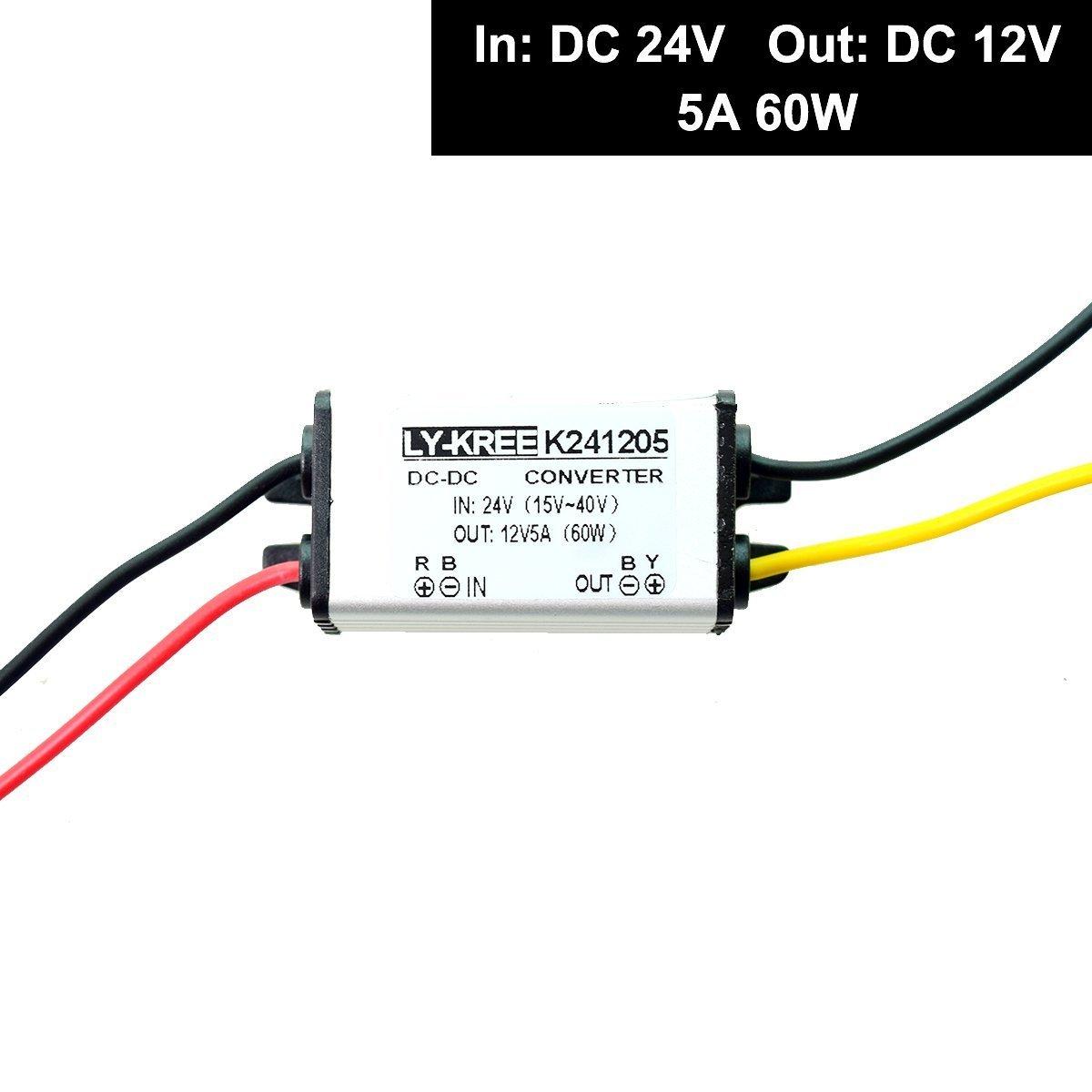 CC 24v a 12v Paso Abajo Convertidor Descenso Reducer Regulador 5A 60W Poder Suministro Adaptador para