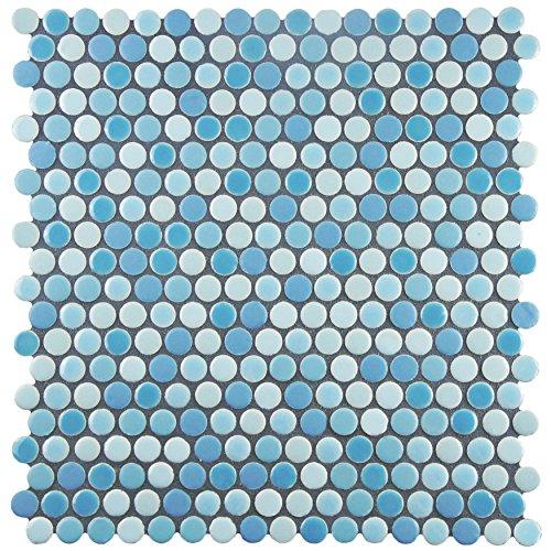 Oceano Tile - SomerTile FSHCOMOC Juno Penny Round Porcelain Floor and Wall Tile, 11.25