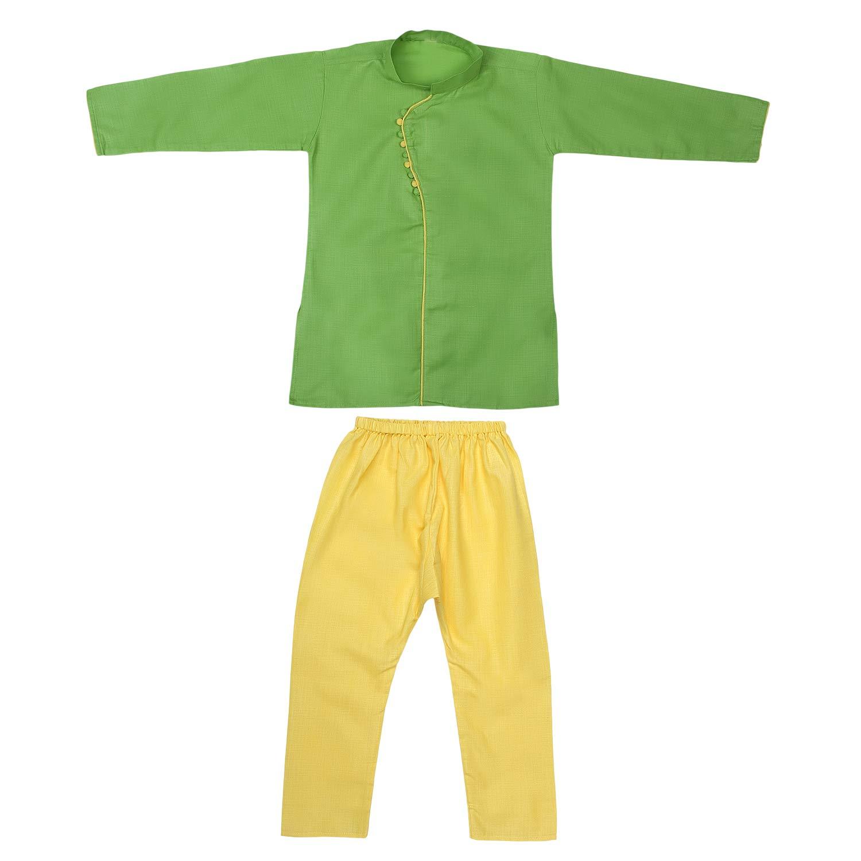 Superminis Baby Boy's Cotton Ethnic Wear Kurta Pyjama with Fancy Piping (Green, 4-5 Years)