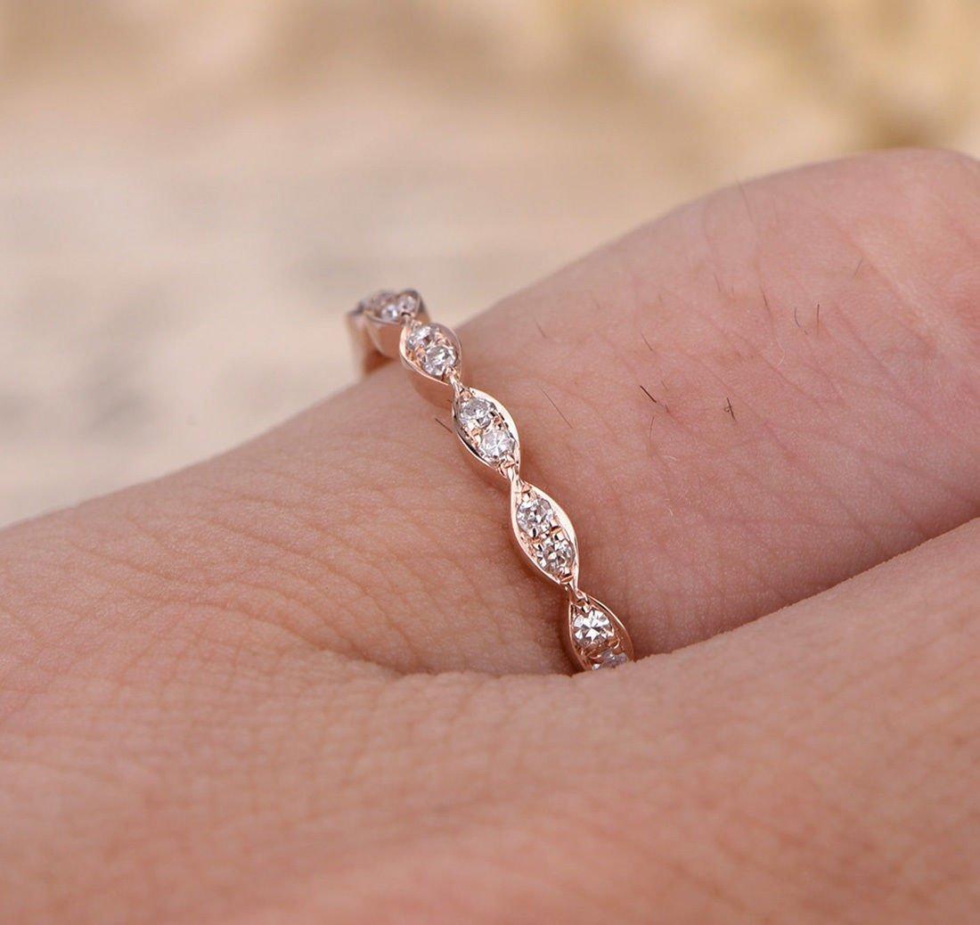 Amazon.com: Pave Diamond Wedding Band Half Eternity Anniversary Ring ...