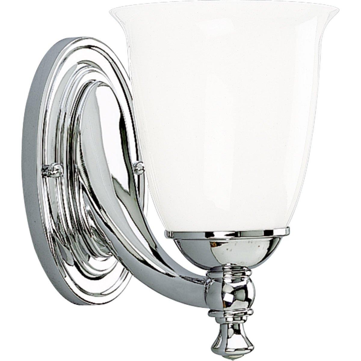 Progress Lighting P3027-15 1-Light Bath Bracket with White Opal Glass, Polished Chrome by Progress Lighting