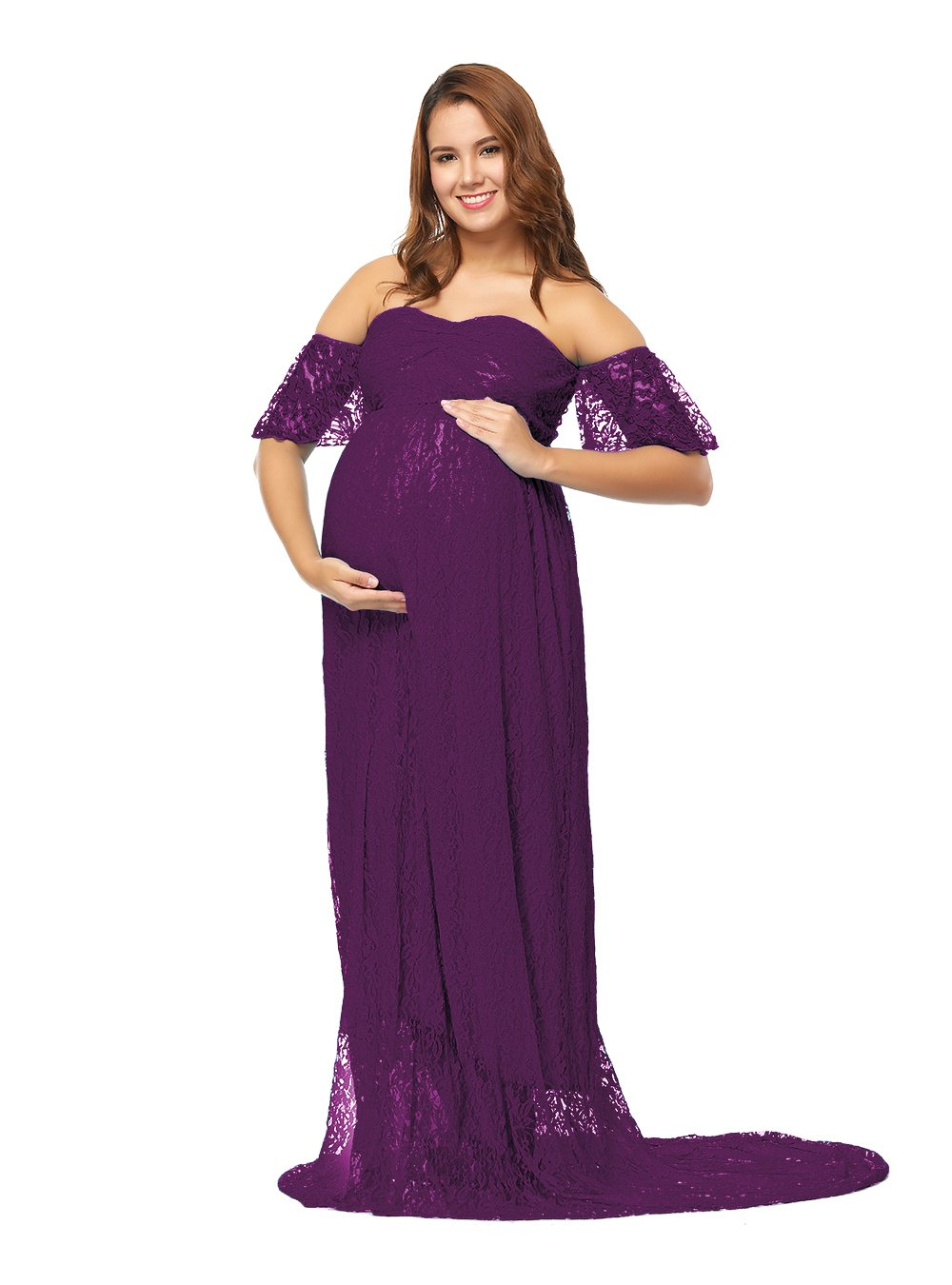 JustVH Women's Off Shoulder Ruffle Sleeve Lace Maternity Gown Maxi Photography Dress