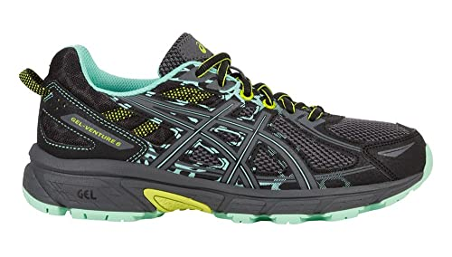 ASICS Women's Gel-Venture 6 Running-Shoes, Black/Carbon/Green, 8.5 B(M) US