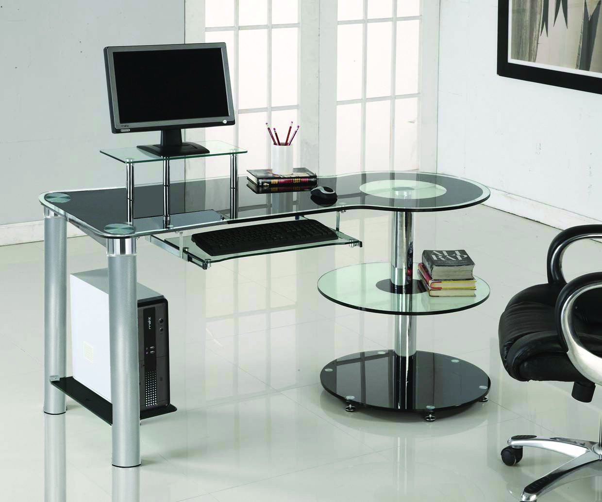 amazoncom black glass  chrome modern desk with circular shelves kitchen dining. amazoncom black glass  chrome modern desk with circular shelves