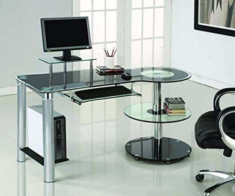Amazon.com : Ultra Modern Black & Clear Glass Office Desk with .