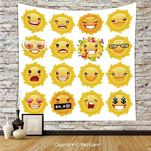 Polyester Tapestry Wall Smiley Surprised Sad Hot Happy Sarcastic Angry Mood Sun Like Faces Plain Backdrop Print Hanging Printed Home Decor(W39xL59) ()