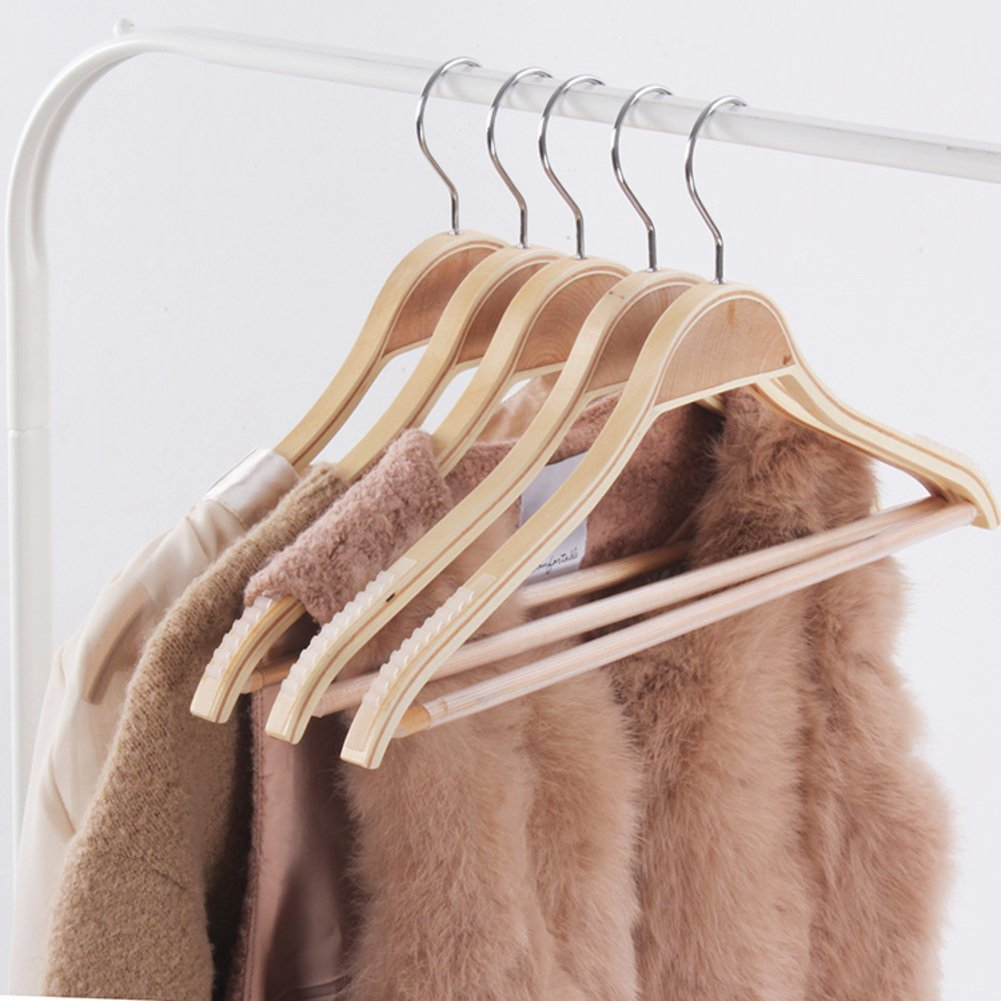 SDFDSVDCGVSGVCGD Bamboo wooden clothes rack,Non-slip can hang suit,Environmental protection wood drying clothes support wooden wood hanger-A by SDFDSVDCGVSGVCGD (Image #3)