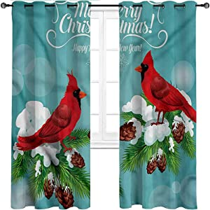 Blackout Curtains Cardinal Grommet Thermal Insulated Room Darkening Drapes Merry Christmas Lettering Set of 2 Panels, 72 Width x 96 Length