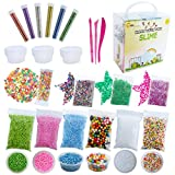 Slime Supplies Kit | All-in-one Set with Foam Balls, Foam Beads, Holographic Glitter, Fruit Slices, Confetti, Containers, Tools | Slime Making Stuff of Party Favors for Kids