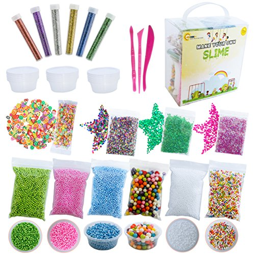 Slime Supplies Kit | All-in-one Set with Foam Balls, Foam Beads, Holographic Glitter, Fruit Slices, Confetti, Containers, Tools | Slime Making Stuff of Party Favors for Kids by Gomosha
