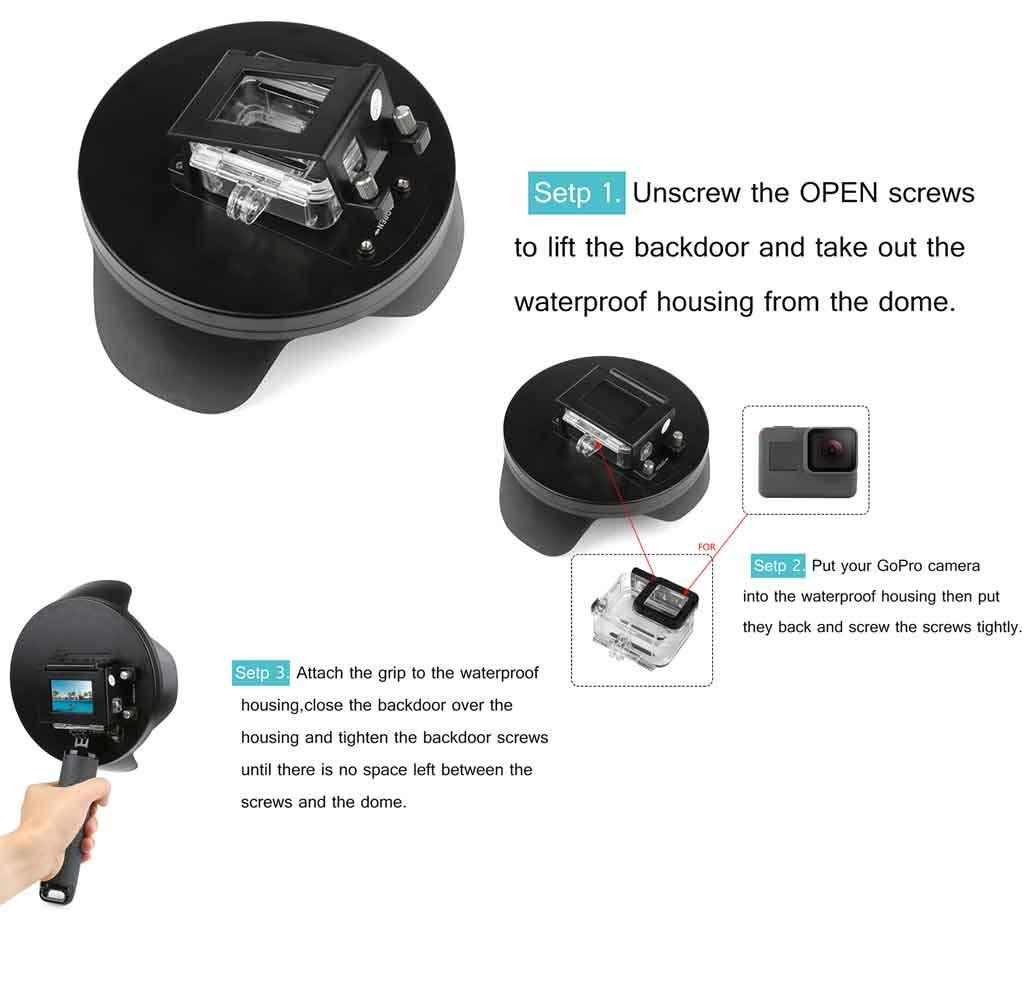 Shoot Underwater Lens Hood Dome Port for GoPro HERO7 Black/HERO6/HERO5/HERO2018 Action Camera (Shoot Official Accessory) (XTGP376B) by unbrand (Image #7)