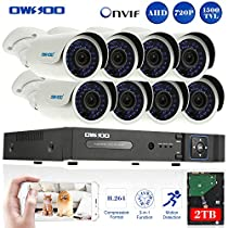 OWSOO 16CH 720P Onvif 2TB DVR Kit with 8PCS 720P Night Vision Built-in Waterproof LED High Resolution Outdoor/Indoor 1500TVL IR Cameras Surveillance CCTV Security Camera System