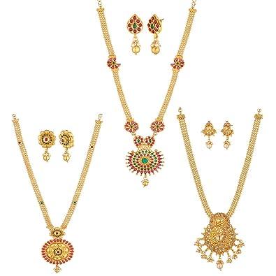 6193976eab Apara Golden Long Haram Mala Combo of 3 Necklace Set with Austrian Diamond Kundan  Pearl for