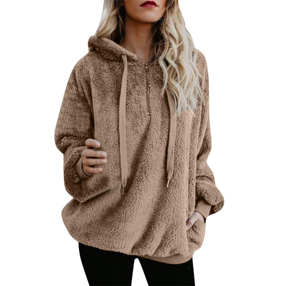 YANG-YI Women Hooded Sweatshirt Coat Winter Warm Wool Zipper Pockets Cotton Coat Outwear
