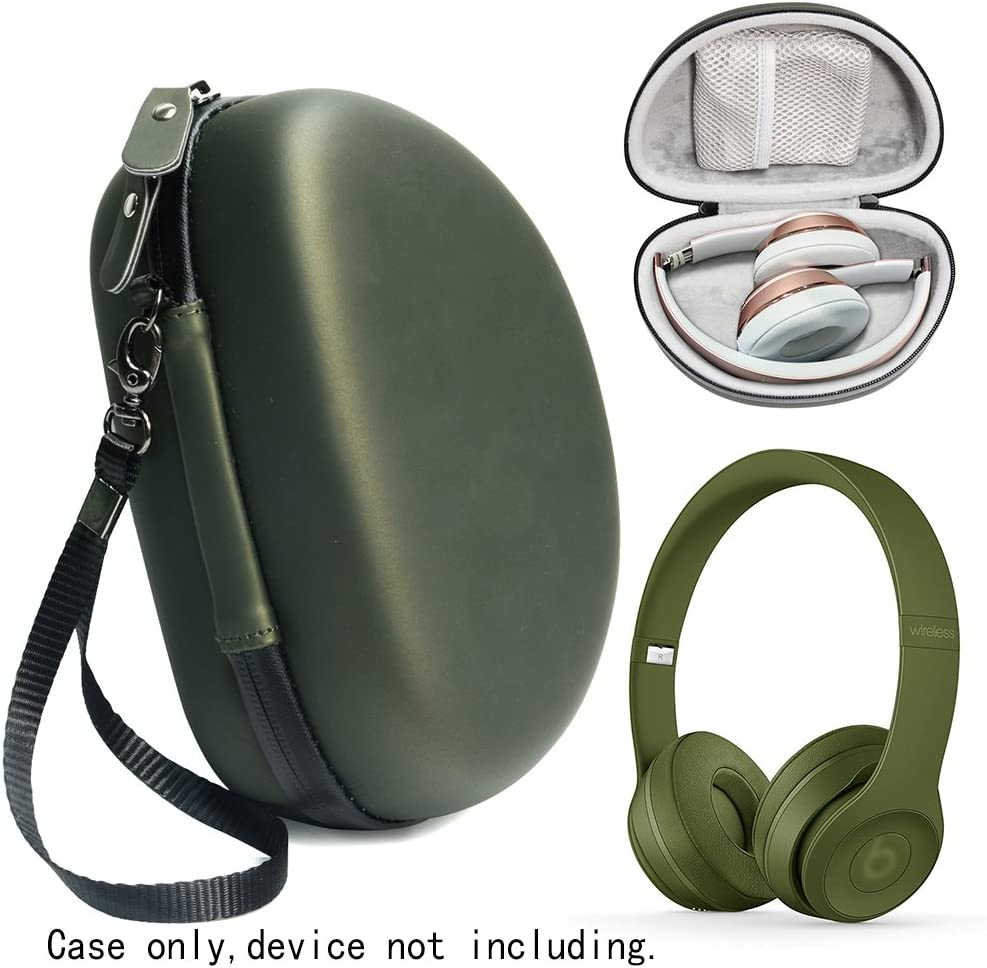 Amazon Com Turf Green Protective Case For Beats Solo 3 Wireless On Ear Headphones Also For Solo 2 Wired And Solo Hd Featured In Matching Color And Shape Accessories Pocket Detachable Wrist Strap Home