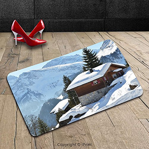 Custom Machine-washable Door Mat Decor Single Wooden House on Hills in Snowy Valley Nordic Peaks Relax Swiss Scenery White Indoor/Outdoor Doormat Mat Rug Carpet