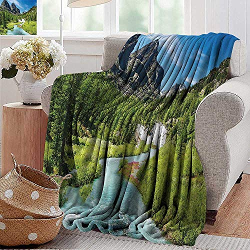 (PearlRolan Weighted Blanket for Kids Rainforest River and Rocky Mountains Scenery Siberia Whitewater Picture Blue Green Weighted Blanket for Adults Kids Better Deeper Sleep 30
