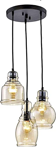 KALRI Vintage Kitchen Island Cognac Glass Chandelier Pendant Lighting Fixture with 3-Light, Antique Black Finish Ceiling Lights for Dining Room, Cafe, Bar Style2-3