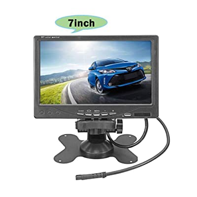 "Vehicle On-Dash Backup Monitor, 7"" Digital HD Car TFT LCD Color Screen Display with 2 Video Input for Rear View Camera: Car Electronics"