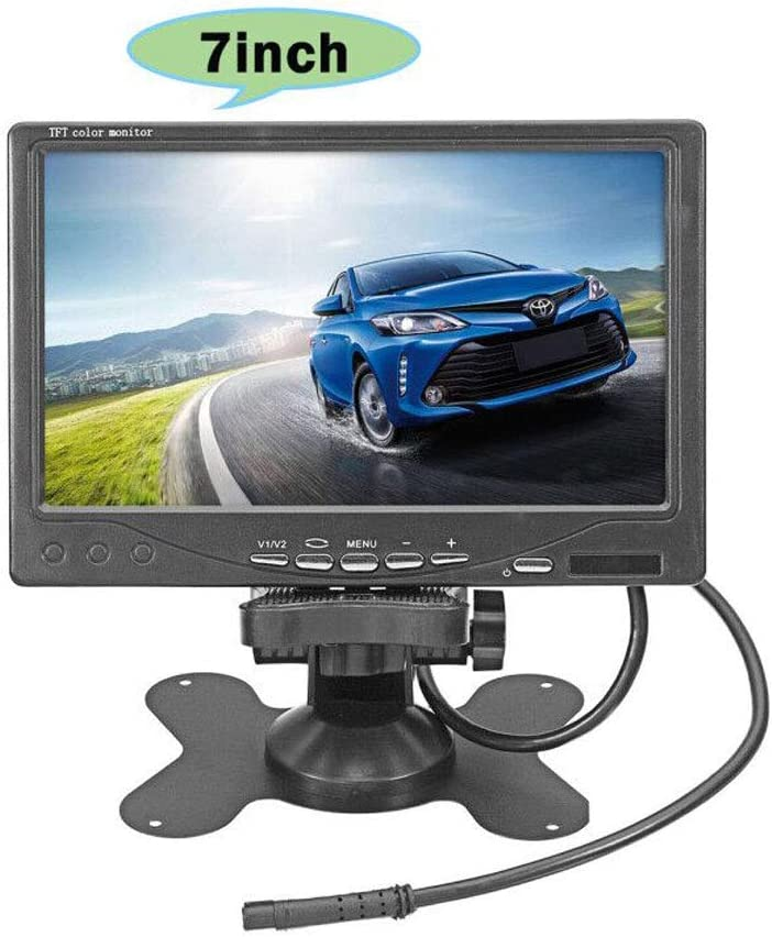 "Vehicle On-Dash Backup Monitor, 7"" Digital HD Car TFT LCD Color Screen Display with 2 Video Input for Rear View Camera"