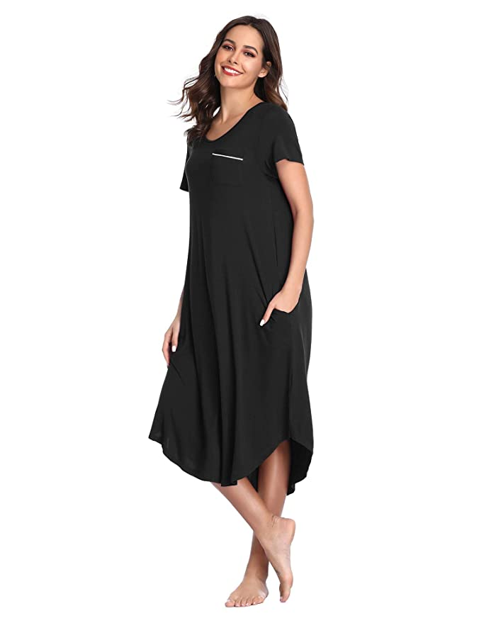 fce5e228c1 Lusofie Long Nightgowns Women s Short Sleeve Sleepshirts Henley Nightshirt  Soft Loungewear at Amazon Women s Clothing store