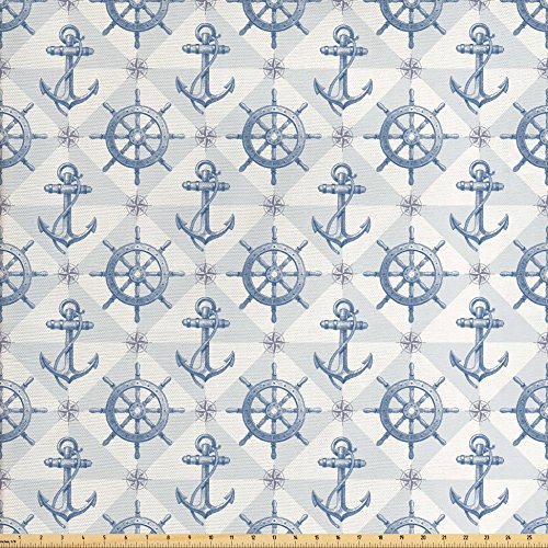 Ambesonne Nautical Fabric by The Yard, Marine Anchor with Wind Rose Ship Wheel Sailors Sea Life Ocean Adventure, Decorative Fabric for Upholstery and Home Accents, Purple Grey Pearl