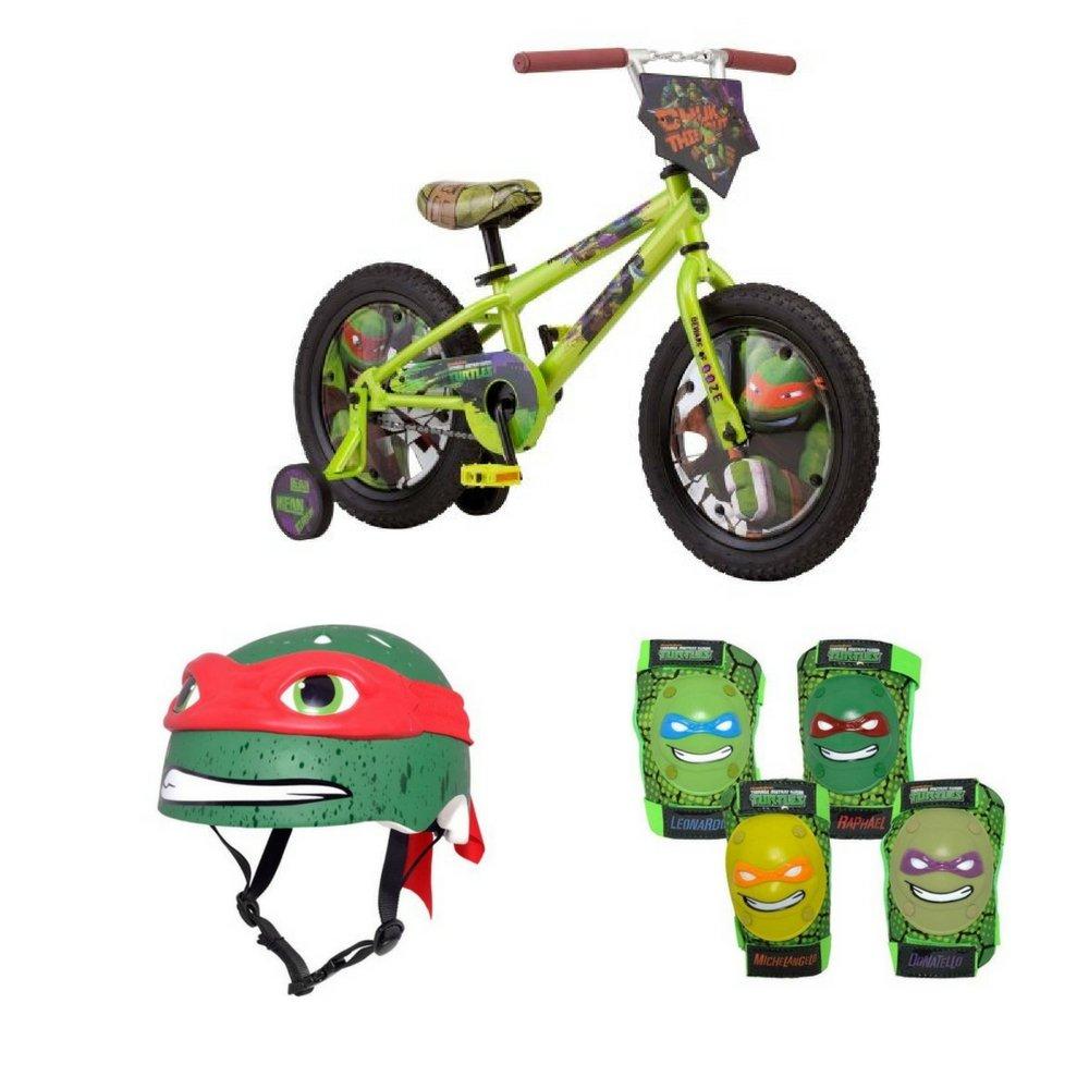 Teenage Mutant Ninja Turtles 16'' Boys' Bike with matching TMNT Raphael Helmet, TMNT Pads and Gloves, Bundle by Teenage Mutant Ninja Turtles (Image #1)