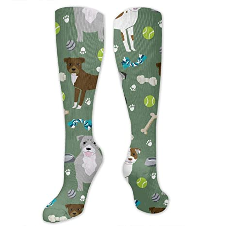 Women Crew Socks Thigh High Knee Brown Dog Long Tube Dress Legging Casual Compression Stocking