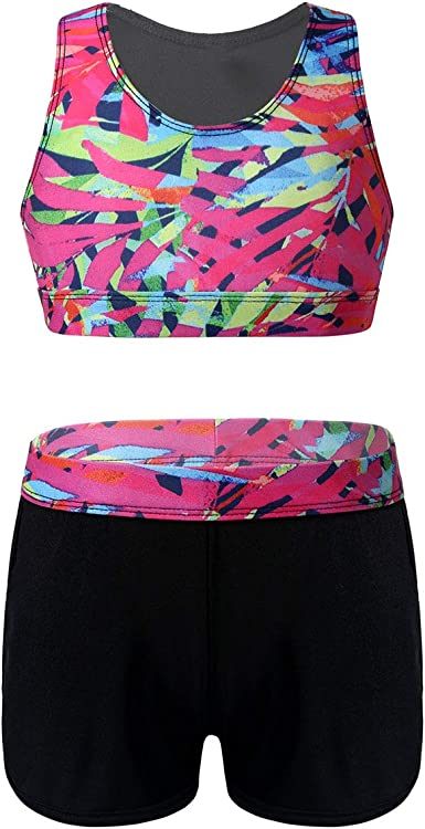 dPois 2PCS Kids Girls Ballet Dance Outfits Crop Top with Booty Shorts for Gymnastics Sport Training Swimwear