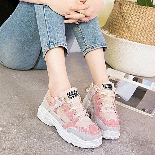 Chaussures De Sport De Cybling Pour Les Femmes Étudiant En Plein Air Lace Up Semelles Épaisses Plate-forme Athlétique Confort Sneaker Rose