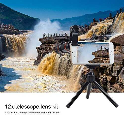 Cell Phone Camera Zoom Lens Kit, 4 in 1 HD 12X Optical Telescope Zoom Lens+ Fisheye+ Wide Angle+ Macro Lens with Universal Clip+ Tripod for iPhone 6/7/6s Plus/SE, Samsung, Google, LG and Most Phones