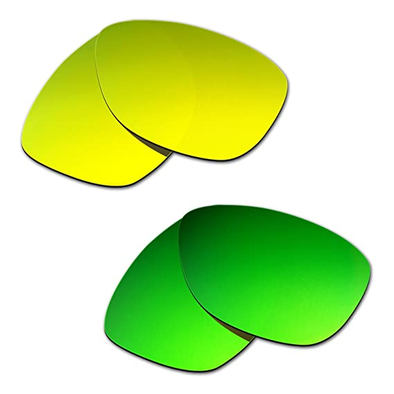 HKUCO Plus Mens Replacement Lenses For Oakley Split Jacket 24K Gold/Emerald Green Sunglasses CTw6O