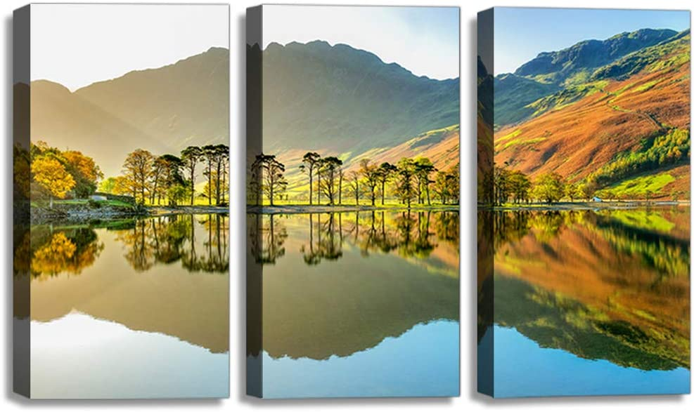 Lake Mountain Landscape Painting Nature Poster Modern Artwork Home Decor Canvas Wall Art for Living Room Waterproof Artwork-12 x16 x3 Panels