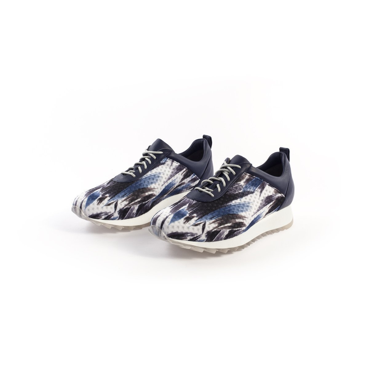 Blue Leather Platform Sneakers with a Combination of Blue Paint Stroke Printed on Textile, Women's Designer Handmade Footwear