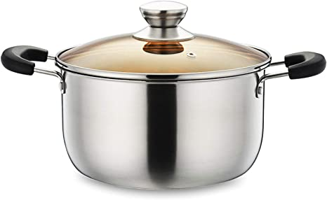 Double Happiness 4.5 Quart Stainless Steel Stock Pot Soup Pasta Pot with Lid Heat Proof Handles Non Toxic /& Easy Clean-Silver