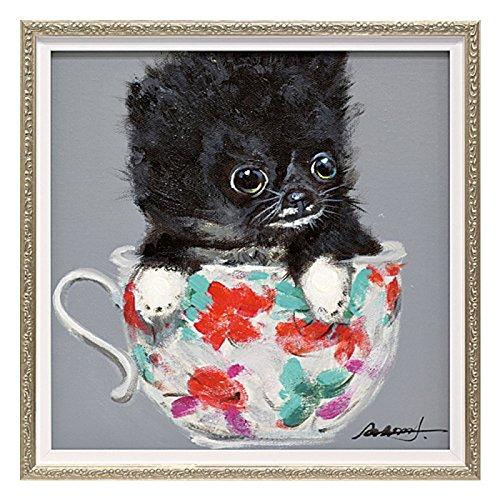 絵画 壁掛け 油絵 アート オイルペイントアート ティーカップドッグ2 Sサイズ OP-07002 イヌ 犬 B01BT8DXIW
