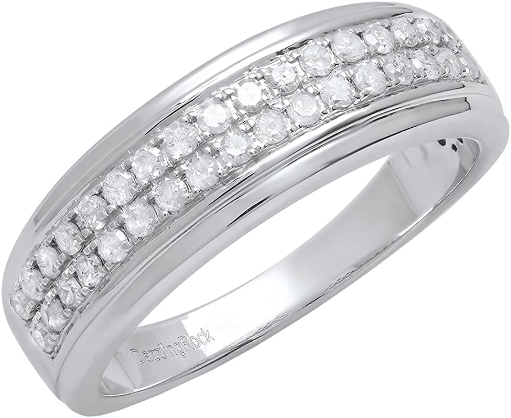 Dazzlingrock Collection 0.55 Carat (Ctw) Round White Diamond Men's Wedding Band, Sterling Silver