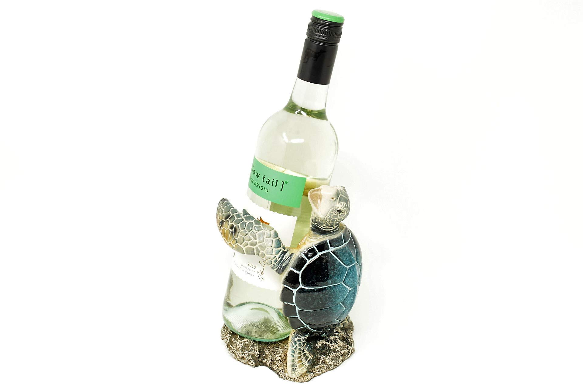Nauti Blue Sea Turtle Wine Bottle Holder 7.5 Inches Tall Polyresin by Nauti